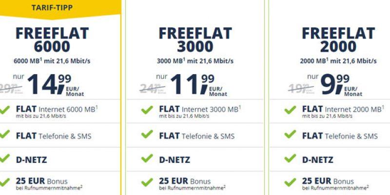 Freenetmobile FreeFlat 2000 Handytarif (All-Net-Flat & 2 GB Internet) für 9,99€