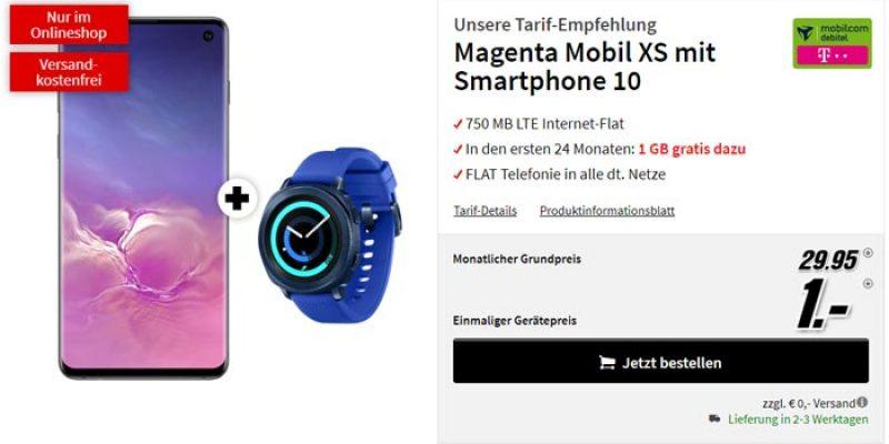 Magenta Mobil XS + Samsung Galaxy S10 + Gear Sport Smartwatch für 29,95€/Monat