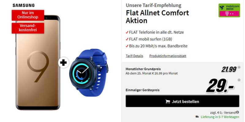 Samsung Galaxy S9 + Gear Sport Smartwatch + Telekom Comfort Allnet Flat für 21,99€/Monat