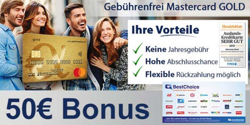 Gebührenfrei Mastercard Gold Kreditkarte + 50€ BestChoice-/ Amazon Gutschein