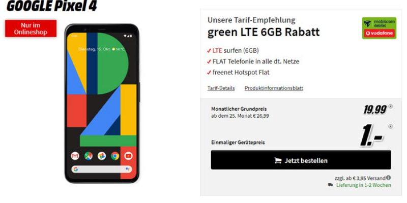 Mobilcom-Debitel Green LTE 6GB Tarif (Vodafone-Netz mit LTE) + Google Pixel 4 für 19,99€/Monat