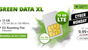 mobilcom-debitel green Data XL Datentarif mit 15 GB LTE für 9,99€/Monat – Telekom Netz