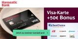 Hanseatic Genialcard Kreditkarte + 50€ BestChoice-/Amazon Gutschein