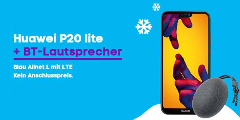 Huawei P20 Lite + Bluetooth Lautsprecher + Blau Allnet L Tarif (All-Net-Flat & 3 GB LTE) für 12,99€ pro Monat