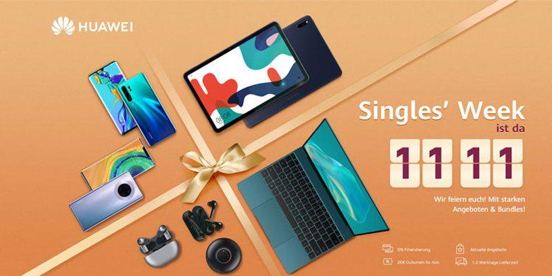 Huawei Singles Week – z.B. Huawei MediaPad M5 lite WiFi 4/64GB + M-Pen + Flip Cover für 169€