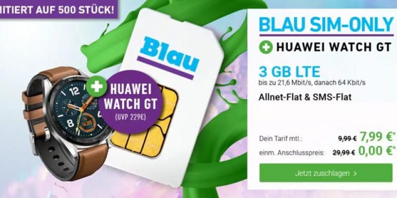 Huawei Watch GT + Blau Allnet L Tarif für 7,99€/Monat + 19€