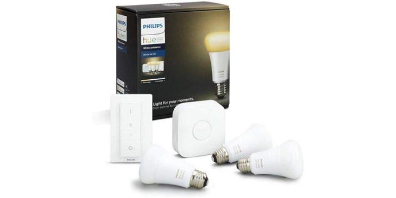 Philips Hue White Ambiance E27 Starter Set: 4x Glühbirnen + Bridge + Dimmschalter für 104,95€
