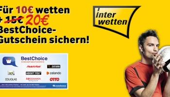 Interwetten Bonus-Deal: 20€ BestChoice-/Amazon Gutschein bei Wette über mind. 10€ [nur Neukunden]