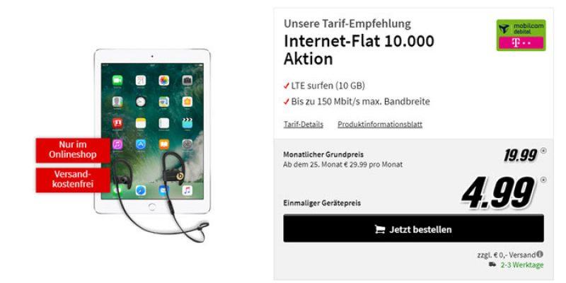 Apple iPad (2017) 32 GB WiFi + Cellular & Beats Powerbeats 3 mit Telekom Datenflat 10.000 für 19,99€/Monat
