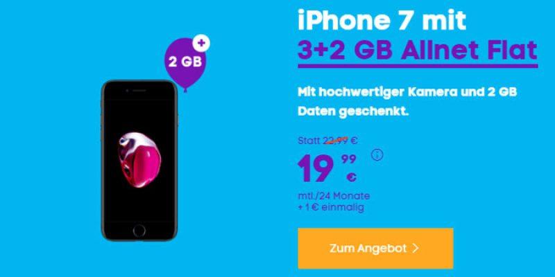 Apple iPhone 7 (32 GB) im Blau Allnet L Tarif für 19,99€ pro Monat