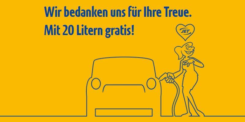 20 Liter Gratis Tanken an Jet Tankstellen bis zum 09.10.2020 [13 bis 14 Uhr]
