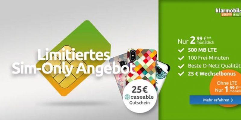 Klarmobil Smartphone Flat 500 für 2,99€/Monat (100 Freiminuten + 500 MB Internet-Flat) + 15€ Amazon Gutschein