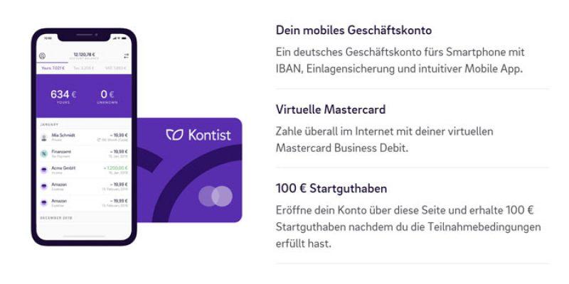 Kostenloses Kontist Girokonto (Geschäftskonto) + 100€ Startguthaben geschenkt