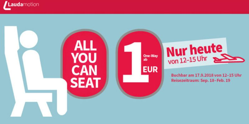 Laudamotion Allyoucanseat Aktion: Flugtickets ab 1€ [12 bis 15 Uhr]