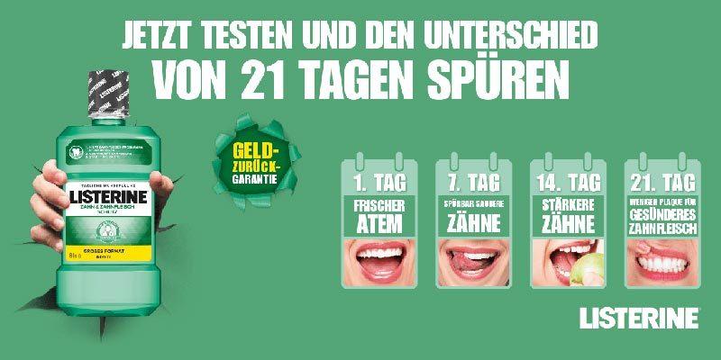 Listerine Mundspülung Cashback Aktion: Mundspülung gratis testen