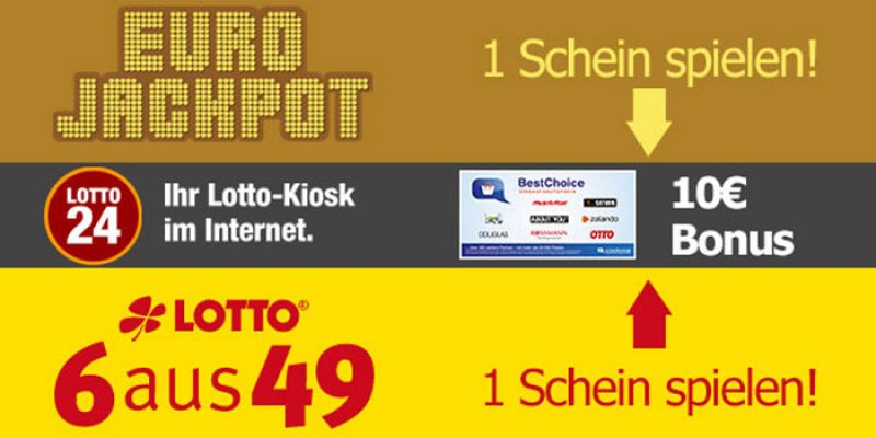 Lotto24 Bonus-Deal: 1 Schein EuroJackpot oder Lotto 6 aus 49 spielen & 10€ Amazon-/BestChoice Gutschein kassieren