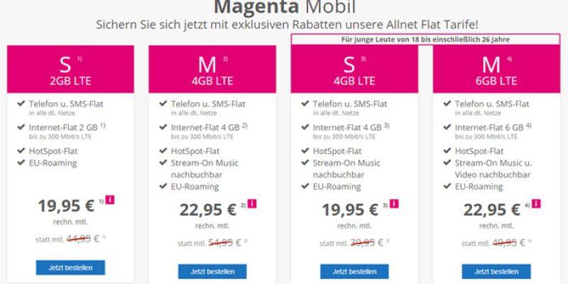 Telekom Magenta Mobil Sim-Only Handytarife (S oder M) ab 19,95€