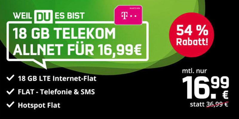 mobilcom-debitel Black Week: Green LTE Tarif mit 18 GB LTE im Telekom Netz für 16,99€/Monat