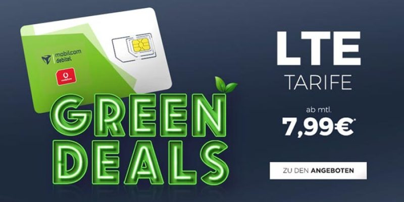 mobilcom-debitel Green Tarife mit LTE – z.B. 1 GB für 7,99€/Monat (Vodafone Netz)