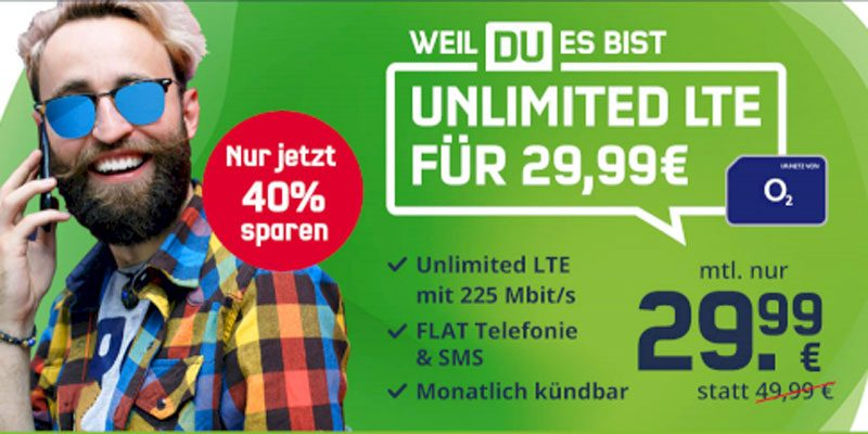 mobilcom-debitel Telefonica Free Unlimited Max für 29,99€/Monat – unlimitierte Allnet-Flat mit 225 Mbit/s