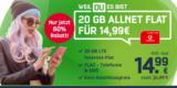 Mobilcom-Debitel Green LTE Sim-Only Tarif mit 20 GB & Allnet-Flatrate für 14,99€/Monat – Vodafone Netz
