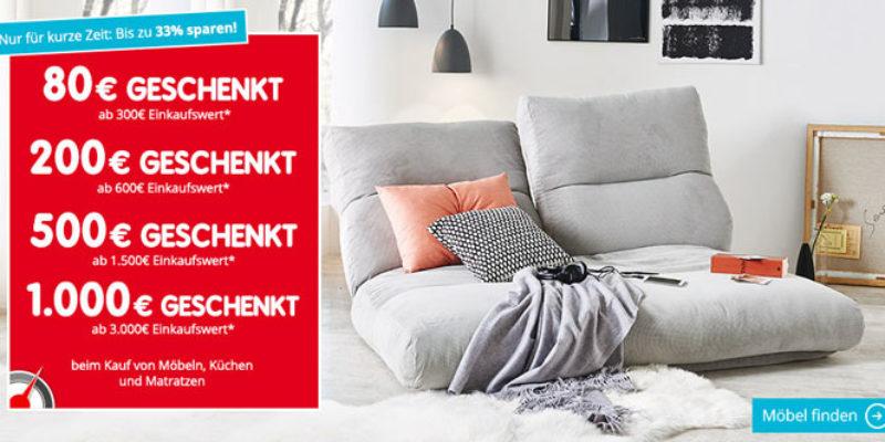 Möbel Höffner Gutschein: 80€ ab 300€, 200€ ab 600€, 500€ ab 1.500€ oder 1.000€ ab 3.000€