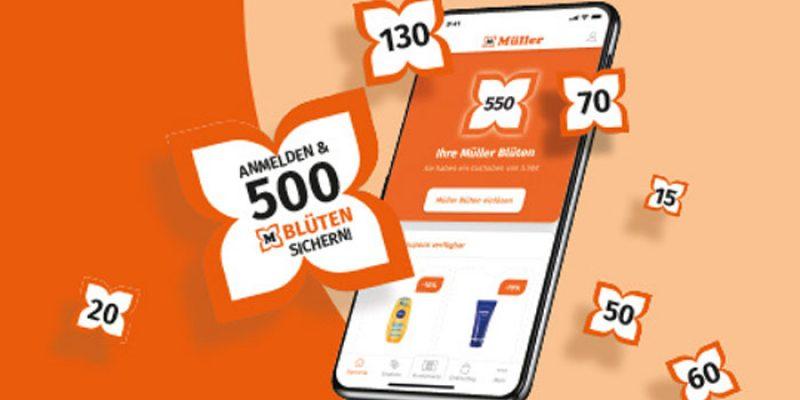 Müller App herunterladen + 5€ Gutschein (500 Blüten) geschenkt