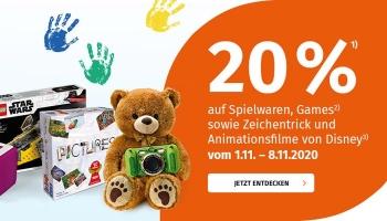 20% Müller Rabatt auf Spielwaren, Games & Disney Filme