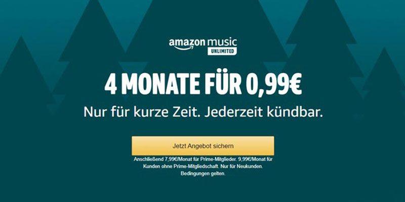 Amazon Music Unlimited Neukunden Angebot: 4 Monate für einmalig 0,99€