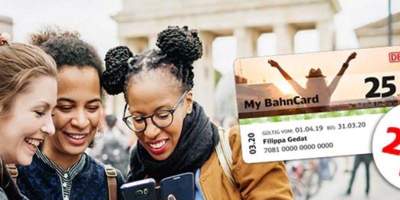 My BahnCard 25 für 29,90€ (bis 27 Jahre) – 25% Rabatt auf Bahntickets