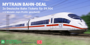 2x myTrain Bahn-Tickets für 59,90€ + Gutschein für 6 Monate Joyn PLUS+