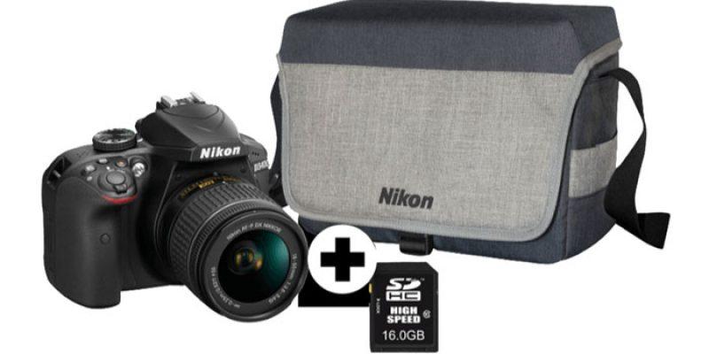 Nikon D3400 Spiegelreflexkamera + 18-55 mm Objektiv + Tasche + 16 GB Speicherkarte für 333€