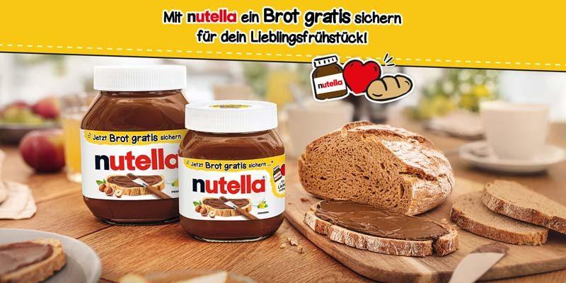 Gratis Brot mit Nutella Cashback Aktion
