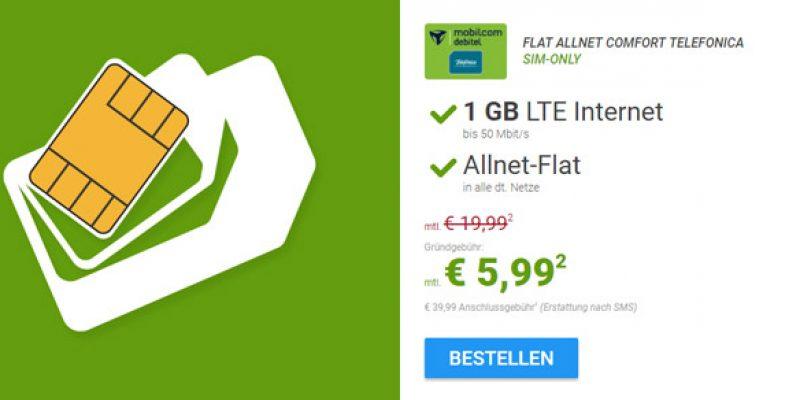 o2 Comfort Allnet Tarif: All-Net Flatrate & 1GB LTE für 5,99€/Monat
