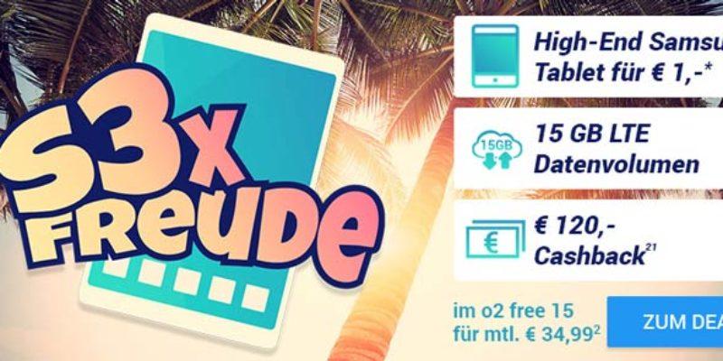 o2 Free 15 Flat + Samsung Galaxy Tab S3 LTE für 34,99€/Monat + 120€ Cashback