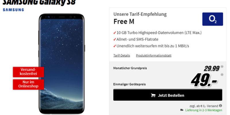 o2 Free M Tarif (Allnet-Flat, SMS-Flat & 10 GB LTE Datenvolumen) + Galaxy S8 für 29,99€/Monat