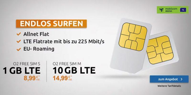 o2 Free S Sim-Only Tarif (1 GB LTE + endlos surfen) für 8,99€/Monat