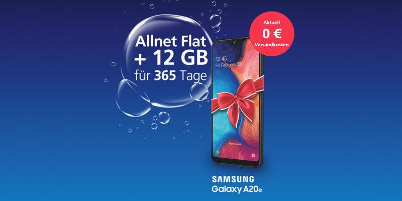 o2 my Prepaid Smartphone Jahrespaket (12 GB, Allnet-Flat) + Samsung Galaxy A20e für einmalig 149,99€
