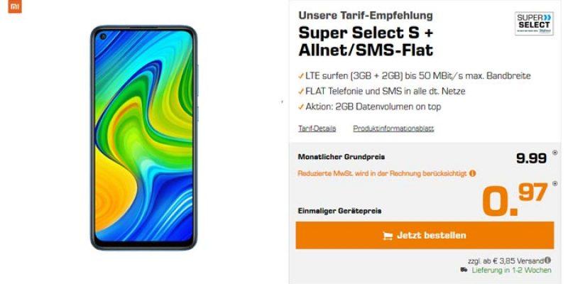 Super Select S Tarif (5 GB LTE) + Xiaomi Redmi Note 9 für 9,99€/Monat bei Saturn
