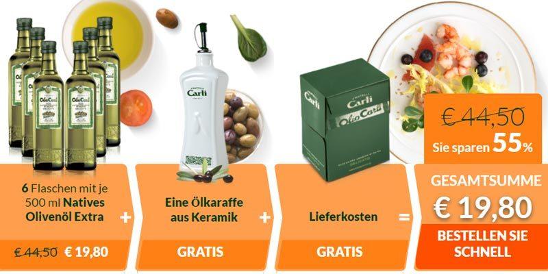 Olio Carli Willkommensangebot: 6 Flaschen Natives Olivenöl Extra (je 500ml) + Ölkaraffe aus Keramik für 19,80€ [Neukunden]