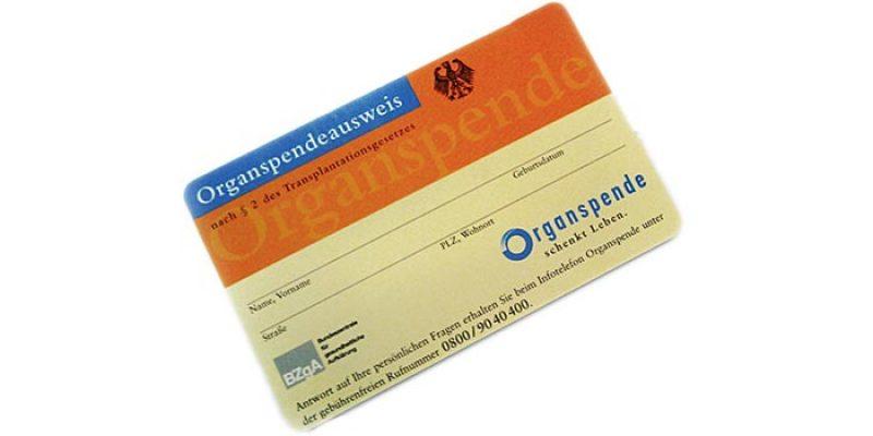 Kostenloser Organspendeausweis als Plastikkarte im Scheckkartenformat