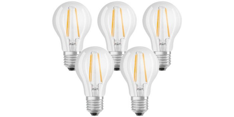 5er Pack Osram LED Classic Lampe E27 (durchsichtig) für 6,99€