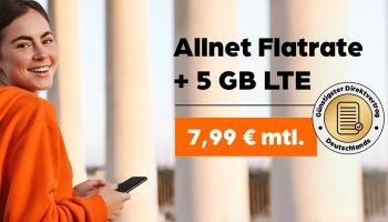 Allmobil Allnet Flat mit 5 GB LTE (Vodafone Netz) für 7,99€/Monat + 50€ Amazon Gutschein