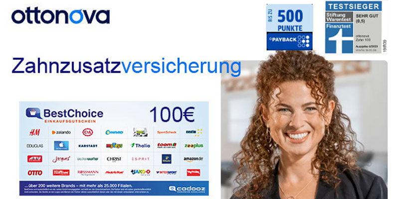 ottonova Zahnzusatzversicherung ab 8,73€/Monat + 100€ BestChoice-/ Amazon Gutschein