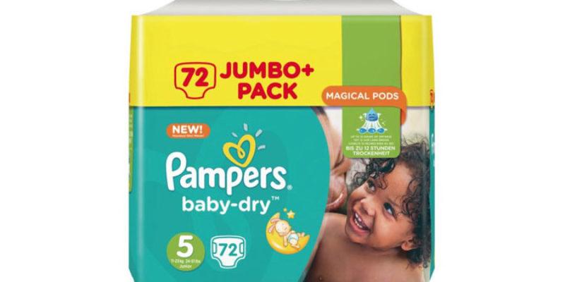 Pampers Baby Dry Windeln (Größen 4, 5, 6 & 7) im Doppelpack für 8,49€ bei Rossmann