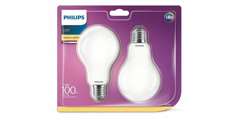 2x 2er Pack Philips LED Lampe mit warmweißen Licht (E27 Fassung) für 11,98€