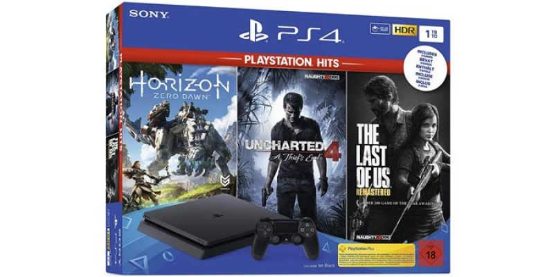 PlayStation 4 Slim 1TB + Uncharted 4, The Last of Us & Horizon Zero Dawn für 254,99€