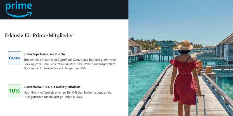 10% Booking.com Cashback als Amazon Prime Kunde + Genius-Status