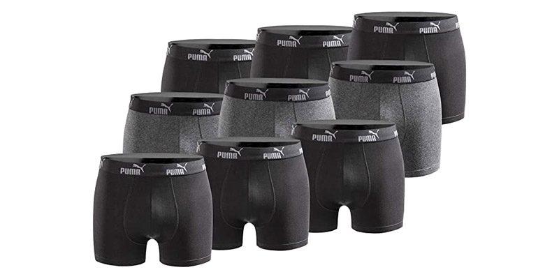 9x Puma Boxershorts (schwarz, grau oder blau) für 38,89€