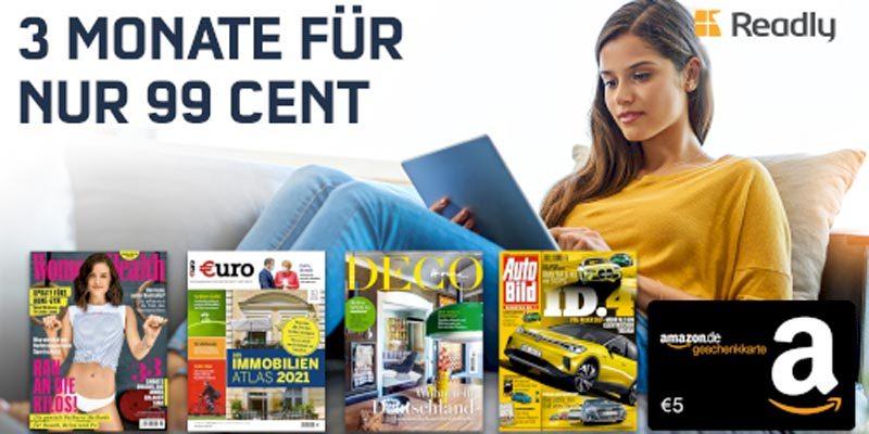 3 Monate Readly für 0,99€ (Zeitschriften-Flatrate) + 5€ Amazon Gutschein
